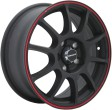 TGRacing TGR001 6x15 5/105 DIA 56.6 matt black red ring